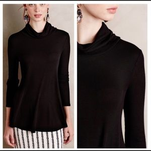 Deletta Black Carra Ribbed Turtleneck Swing Tee